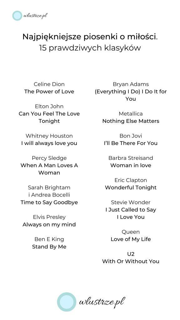 Najpiękniejsze piosenki o miłości - lista 15 klasyków